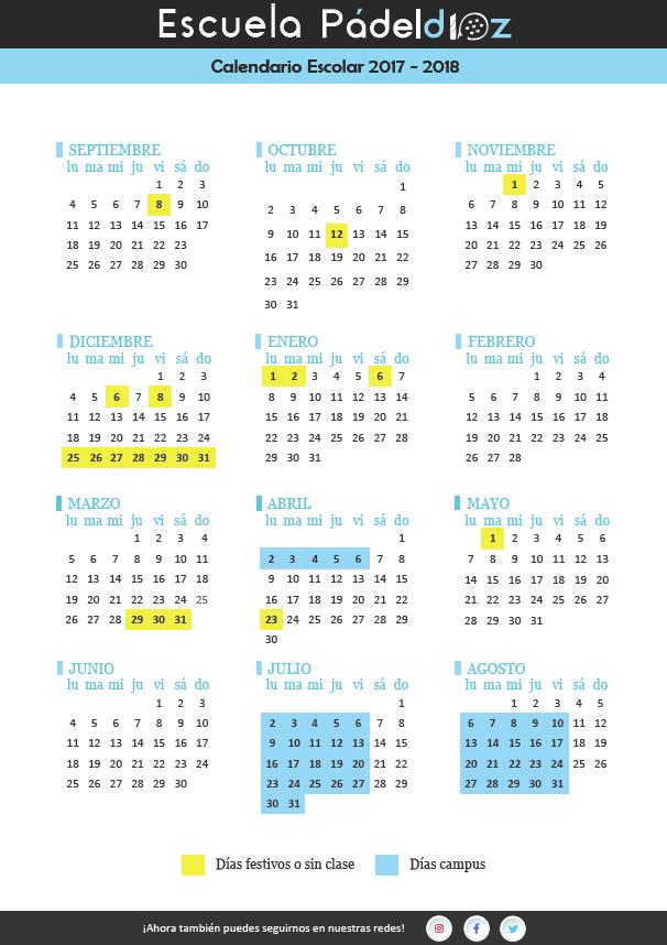 calendario escolar Padeld10z