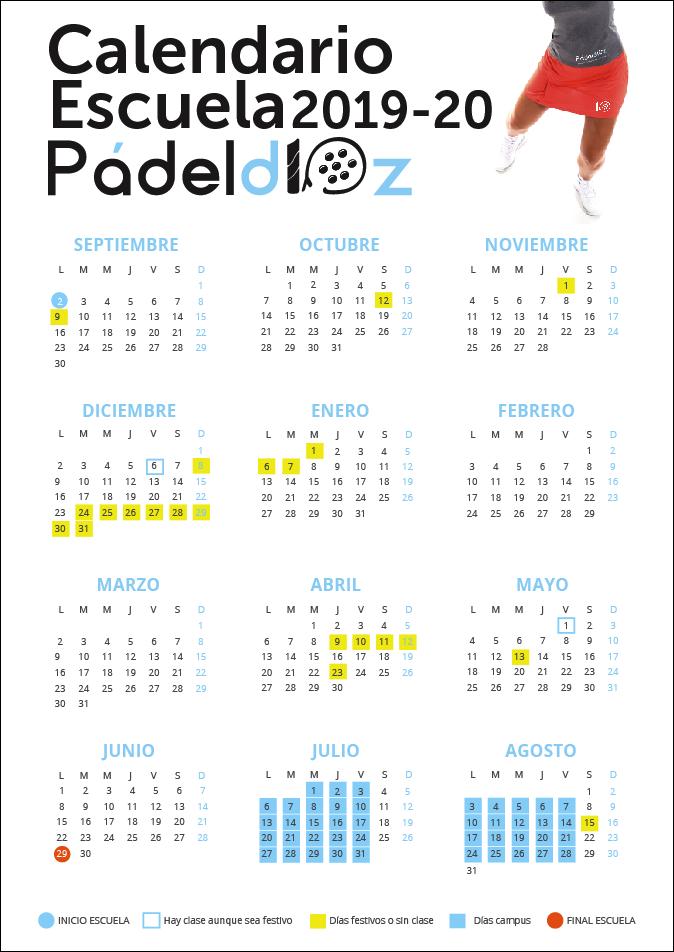 Calendario Escolar de la Escuela de Pádeld10z Temporada 2019-2020